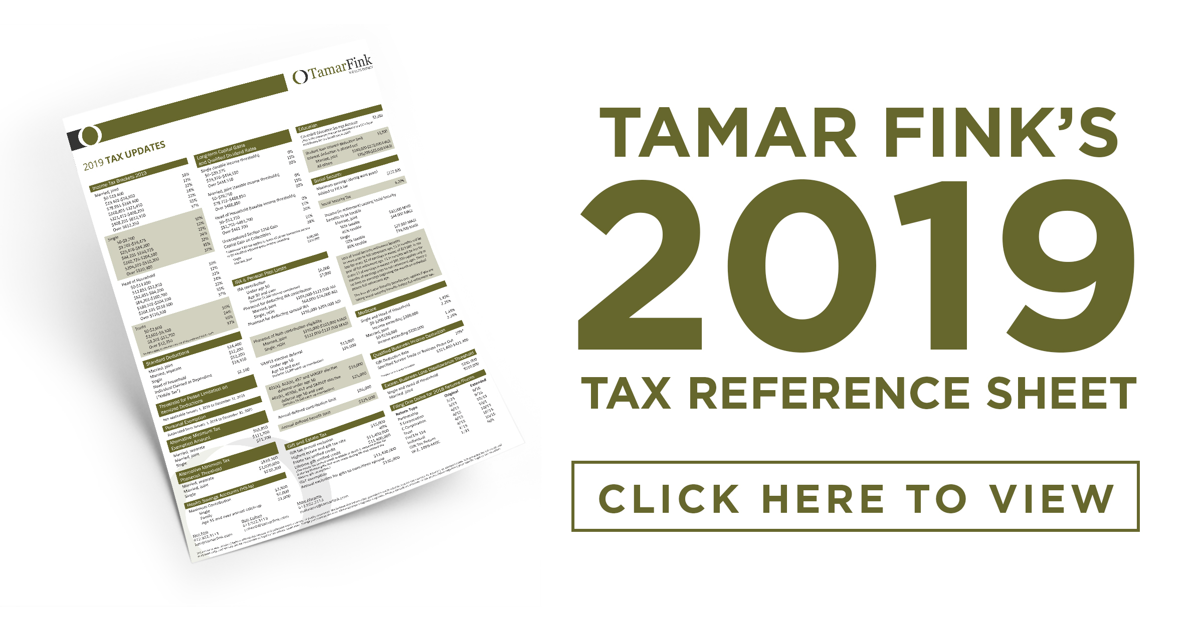 2019 Tax Reference Sheet